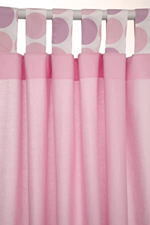 Curtains Ideas 54 inch curtains : Baroo 46 x 54-inch Polka Tab Top Curtains (Pink): Amazon.co.uk: Baby