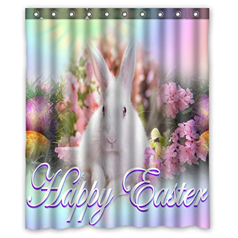 Amazon.com: Custom Rabbit With Flowers Happy Easter Shower Curtain ...