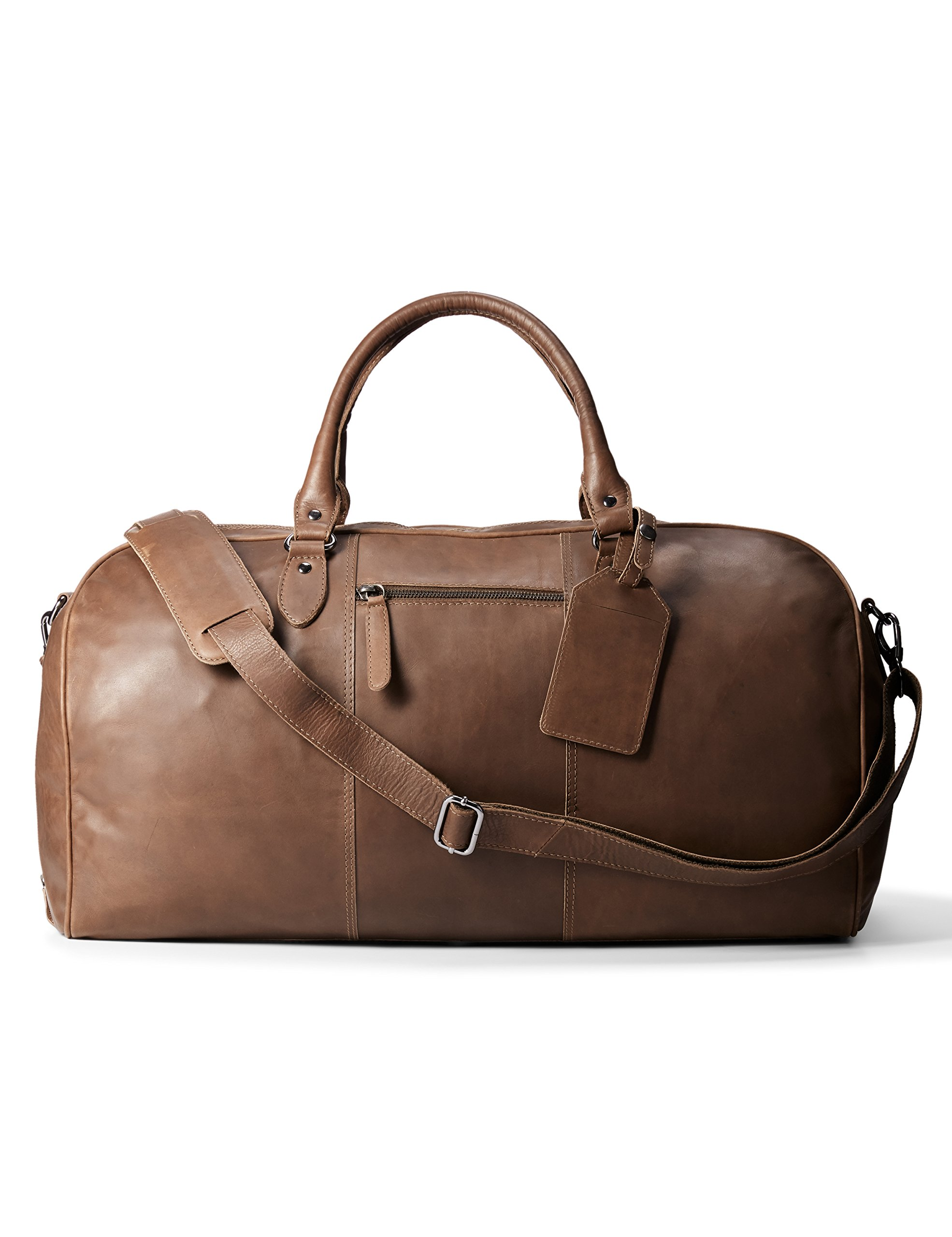 Leather Architect Men's 100% Leather Duffle Bag Mid Brown