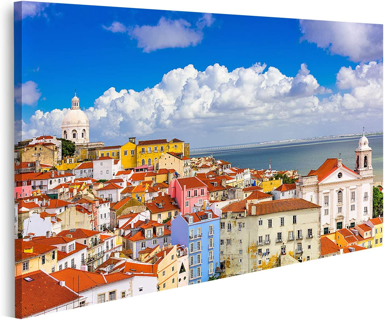 islandburner Cuadro en Lienzo Lisboa Portugal Paisaje Urbano en el Distrito de Alfama Cuadros Modernos Decoracion Impresión Salon