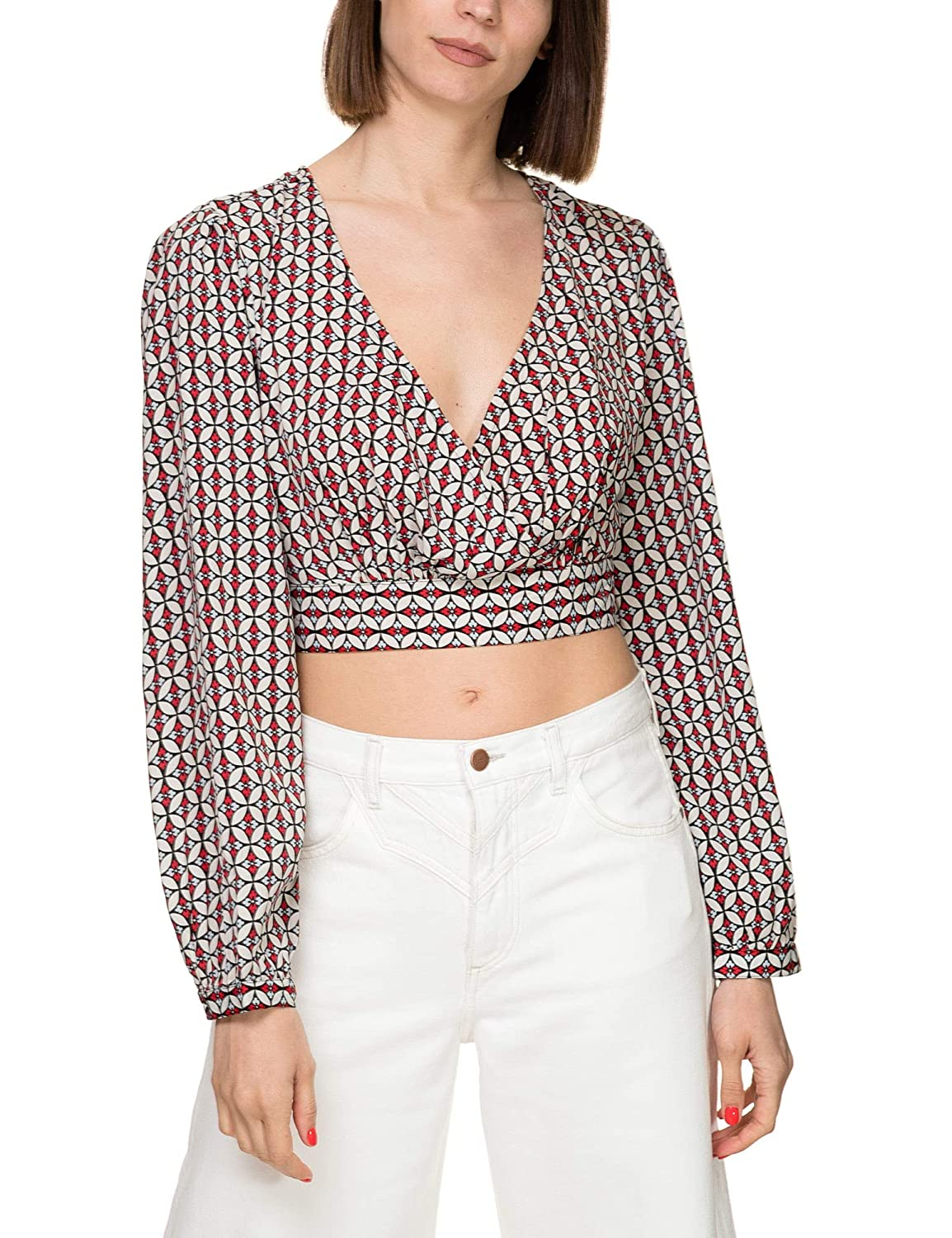 ONLY Womens Emma Printed Wrap Top
