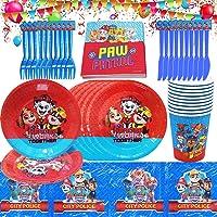 Juego de vajilla de cumpleaños para niños, Paw Dog Patrol que incluye platos, tazas, servilletas, manteles, decoraciones…