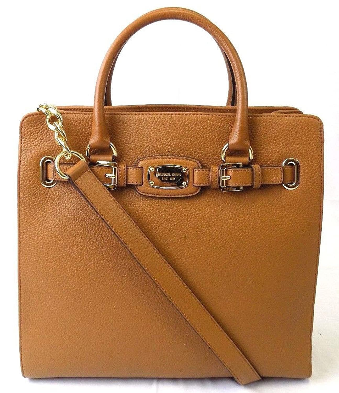 9caf44201a Amazon.com  MICHAEL KORS HAMILTON LARGE NS NORTH SOUTH TOTE ACORN LEATHER  SHOULDER BAG  Clothing