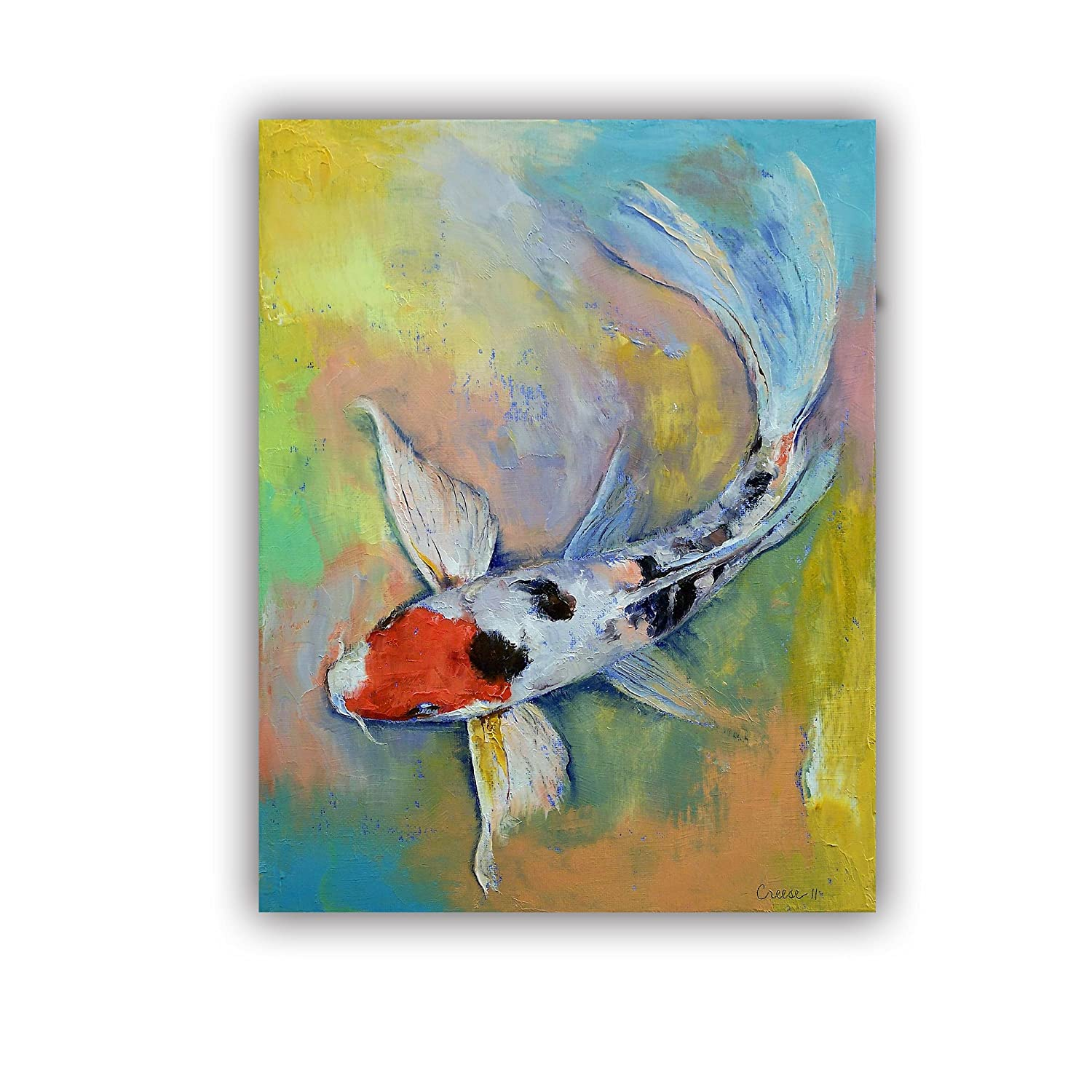 ArtWall Michael Creeses Maruten Butterfly Koi Art Appeelz Removable Wall Art Graphic 24 by 32