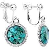 Body Candy Handcrafted Silver Plated Turquoise Circular Frame Clip On Earrings