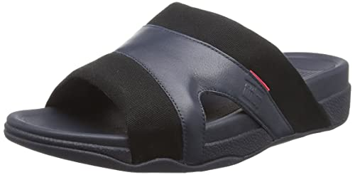 5d6dad1ed64701 Fitflop Men s Freeway Pool Slide in Leather Canvas Mix Open Toe Sandals
