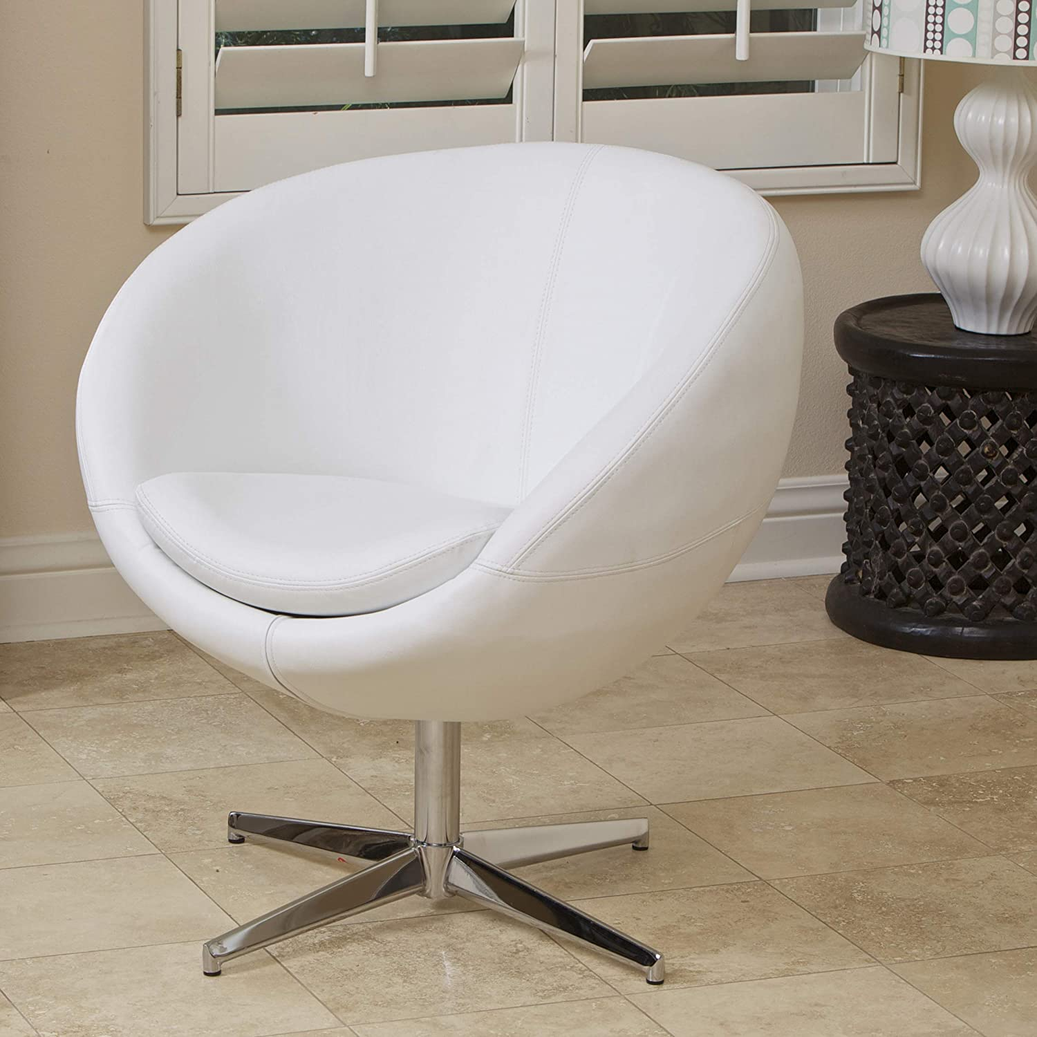 Christopher Knight Home CKH Modern Leather Roundback Chair, White