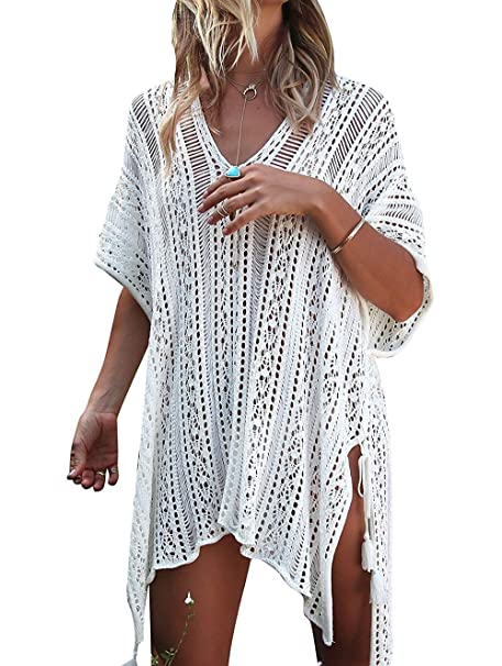 611dbbdc2d8 Garsumiss Women Chiffon Tassel Swimsuit Cover up Beach Bikini Stylish  Bathing Suit (One Size