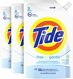 Tide Free & Gentle Liquid Laundry Detergent Smart Pouch, Pack of 3, 93 total loads