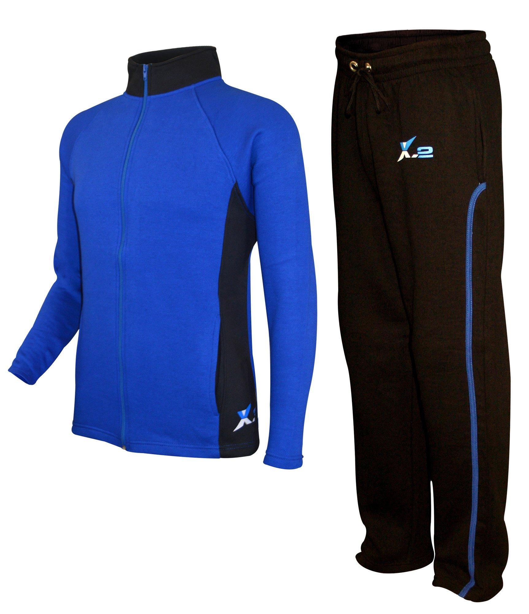 X-2 Mens Athletic Full Zip Fleece Tracksuit Jogging Sweatsuit Activewear Blue-Black XL