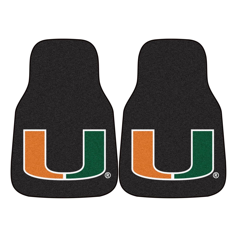 Fanmats Miami FL Hurricanes Carpeted Car Mats