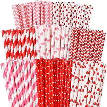 Red Paper Straws Stars Pattern Party Birthday Wedding 25Pcs Biodegradable