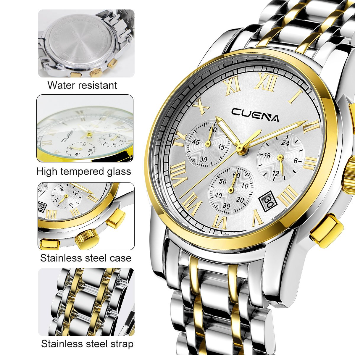 Men\'s Stainless Steel Watch-Luxury Casual Analog Roman Quartz Calender Watch for Men by CUENA