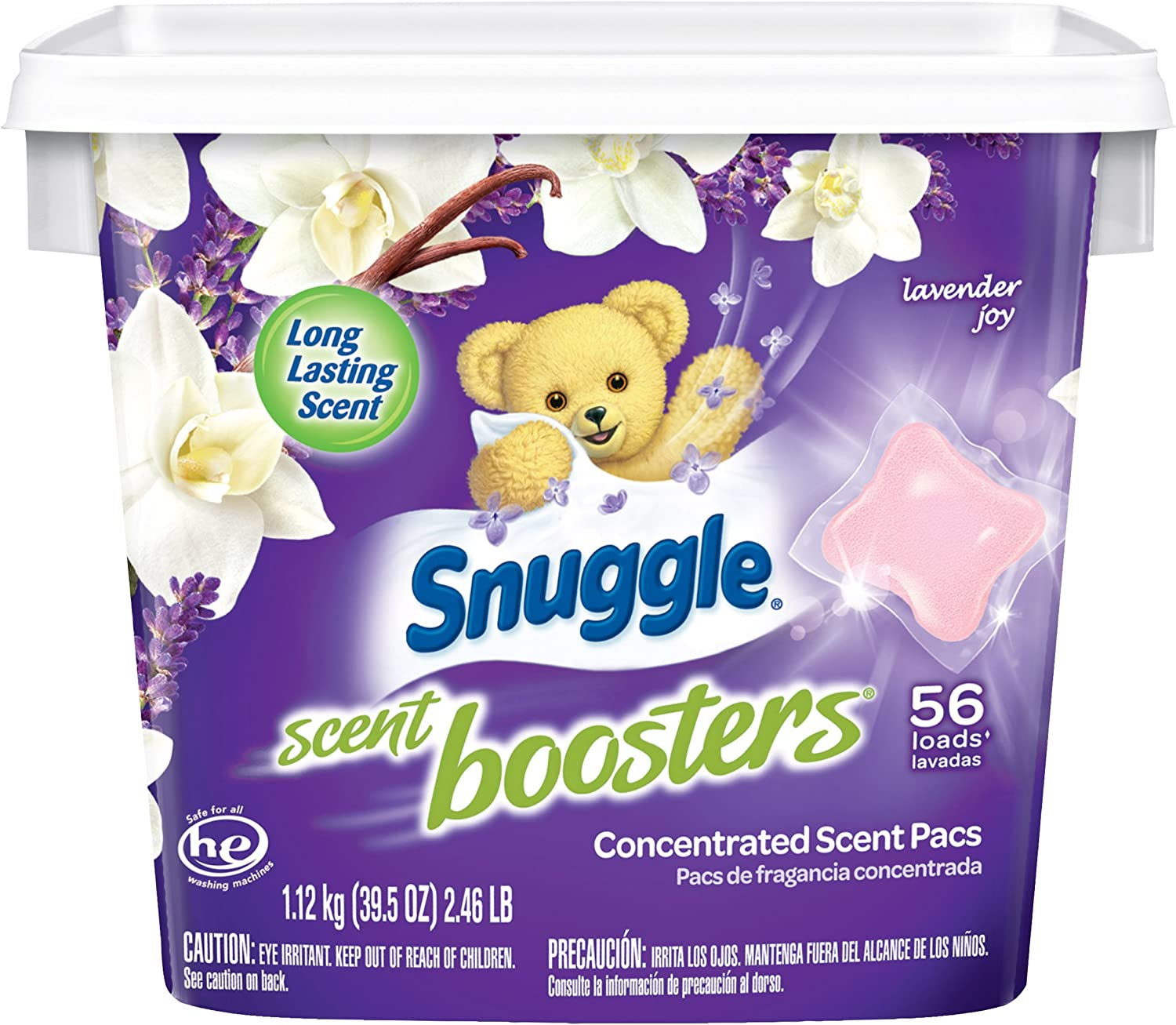Snuggle Laundry Scent Boosters Concentrated Scent Pacs, Lavender Joy, Tub, 56 Count