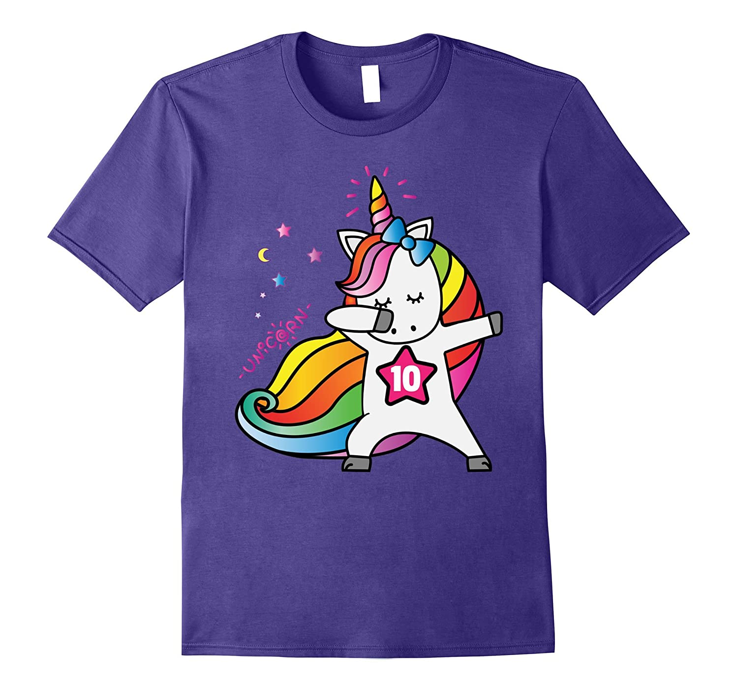 10th Birthday Shirt Birthday Girl 10 Unicorn T-Shirt July-Art