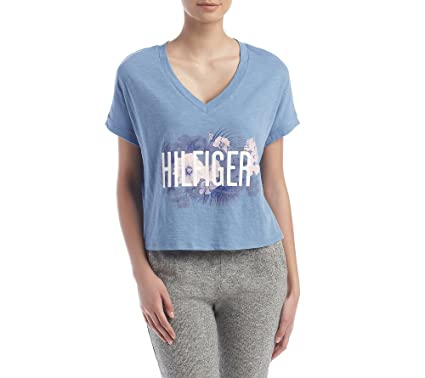 a057cdf48263cf Tommy Hilfiger Cropped Logo Pajama Top at Amazon Women s Clothing store