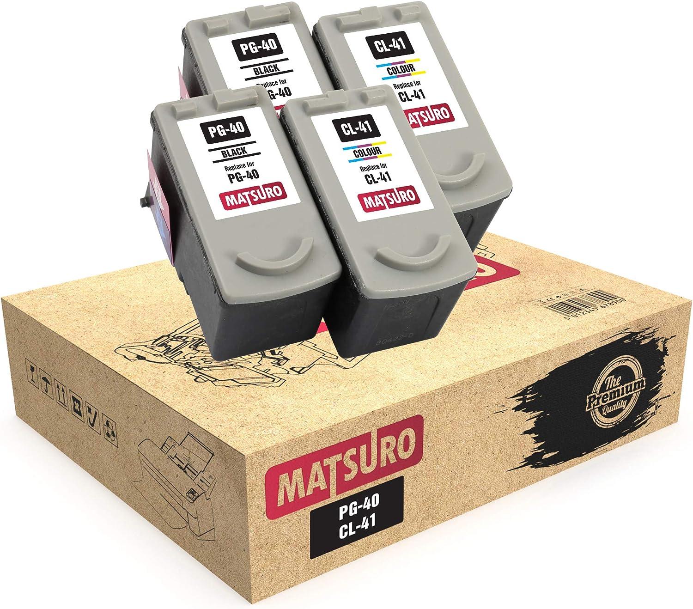 Matsuro Original | Compatible Remanufactured Cartuchos de Tinta Reemplazo para Canon PG-40 CL-41 (2 Sets): Amazon.es: Electrónica