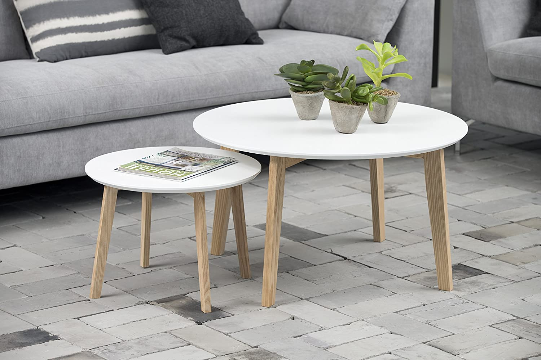 Stubentisch 80x80 cm Wohnzimmertisch weiß Massiv Tisch Couchtisch Molina