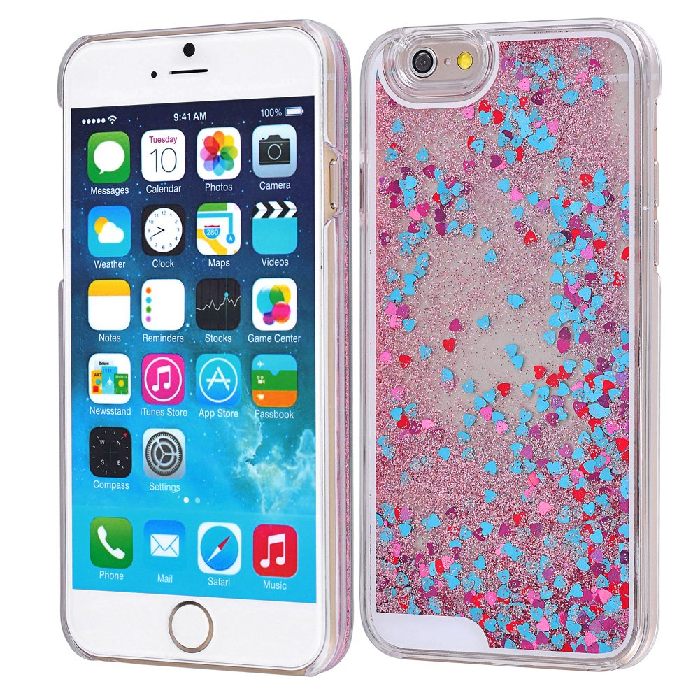 iPhone 6 6S Case-Yerwal Glitter Heart Bling Dynamic Liquid Quicksand Clear Case Cover For iPhone 6 6S 4.7\