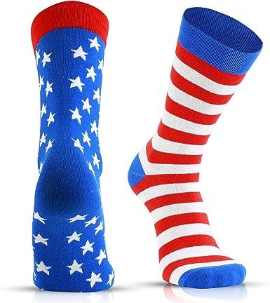 Calcetines divertidos de vacaciones para hombre, diseño novedoso, regalos para papá, hijo, marido, 4 de julio, bandera de Estados Unidos, patriótica, 1 paquete: Amazon.es: Ropa y accesorios