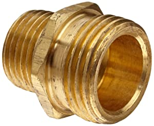 "Anderson Metals Brass Garden Hose Fitting, Connector, 3/4"" Male Hose ID x 3/8"" Male Pipe"