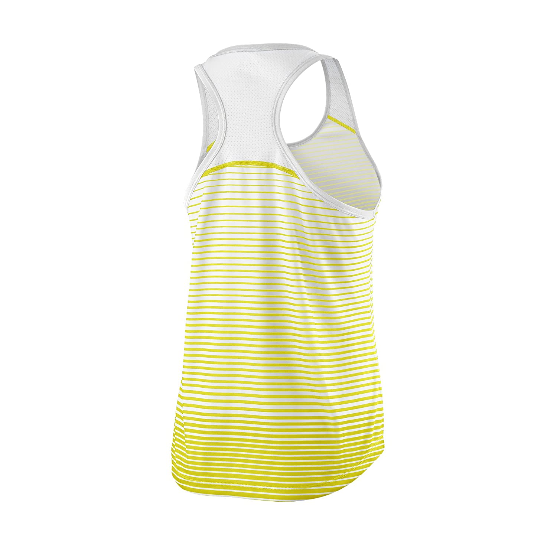 Wilson Camiseta de tenis de tirantes para mujer W Team Striped Tank WRA766101 Talla: XL Amarillo//Blanco Poli/éster