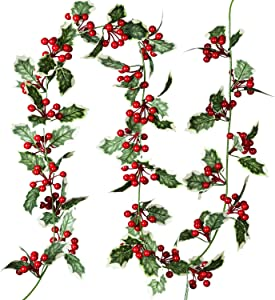 Artiflr 6Feet Red Berry Christmas Garland, Flexible Artificial Berry Garland for Indoor Outdoor Home Fireplace Decoration for Winter Christmas New Year Holiday Decor