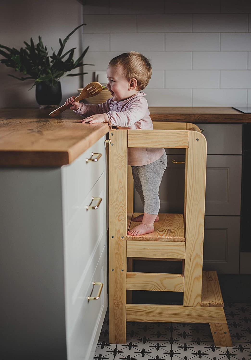 MeowBaby Kitchen Helper for Children Made in EU Wooden Montessori Learning Tower Natural