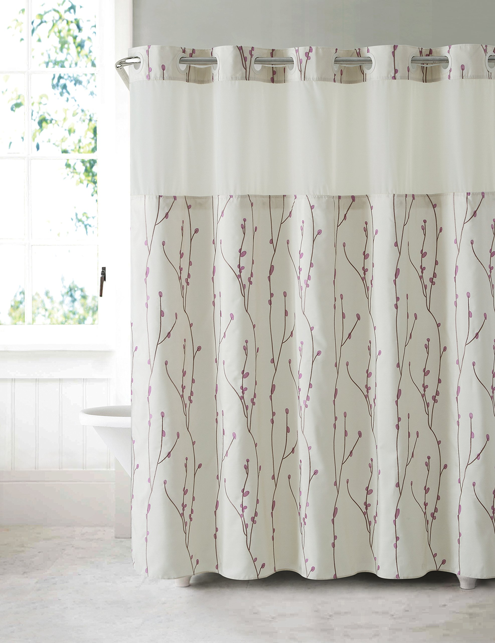 Details About Hookless RBH40MY079 Cherry Bloom Shower Curtain With PEVA Liner