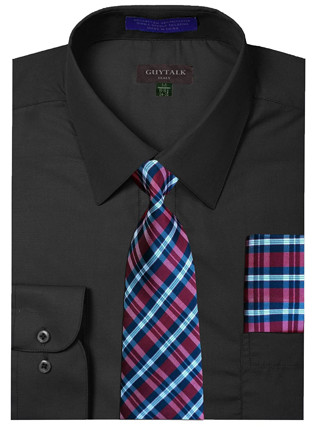 9056677733ba Guytalk Mens Dress Shirt With Matching Tie And Handkerchief: Amazon.ca:  Clothing & Accessories