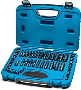 Capri Tools 1/4-Inch Drive Master Impact Socket Set, 6-Point, Shallow and Deep, Metric and SAE, 49-Piece (CP51000)