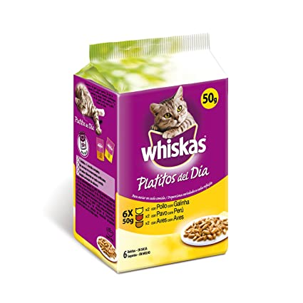 Whiskas Bolsitas para Gatos Platitos del Día Carne Blanca En Salsa - Paquete de 6 x