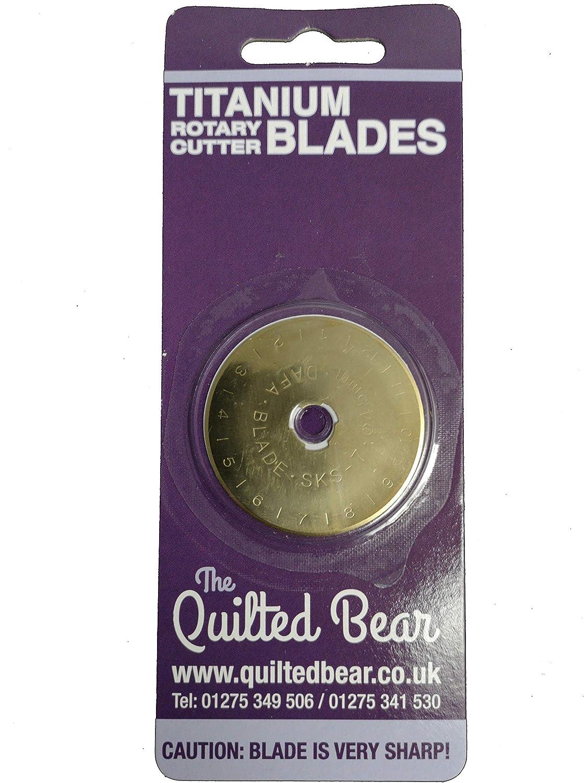 Quilted Bear Steppb/är 45mm Titan Rotary vergoldet Ausdauerklinge Geeignet f/ür OLFA und Fiskars