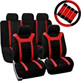 FH GROUP FH-FB070115+FH2033 Sports Fabric Car Seat Covers, Airbag compatible and Split Bench w. FH2033 Black Steering Wheel Cover & Seat Belt Pads Red /Black Color- Fit Most Car, Truck, Suv, or Van