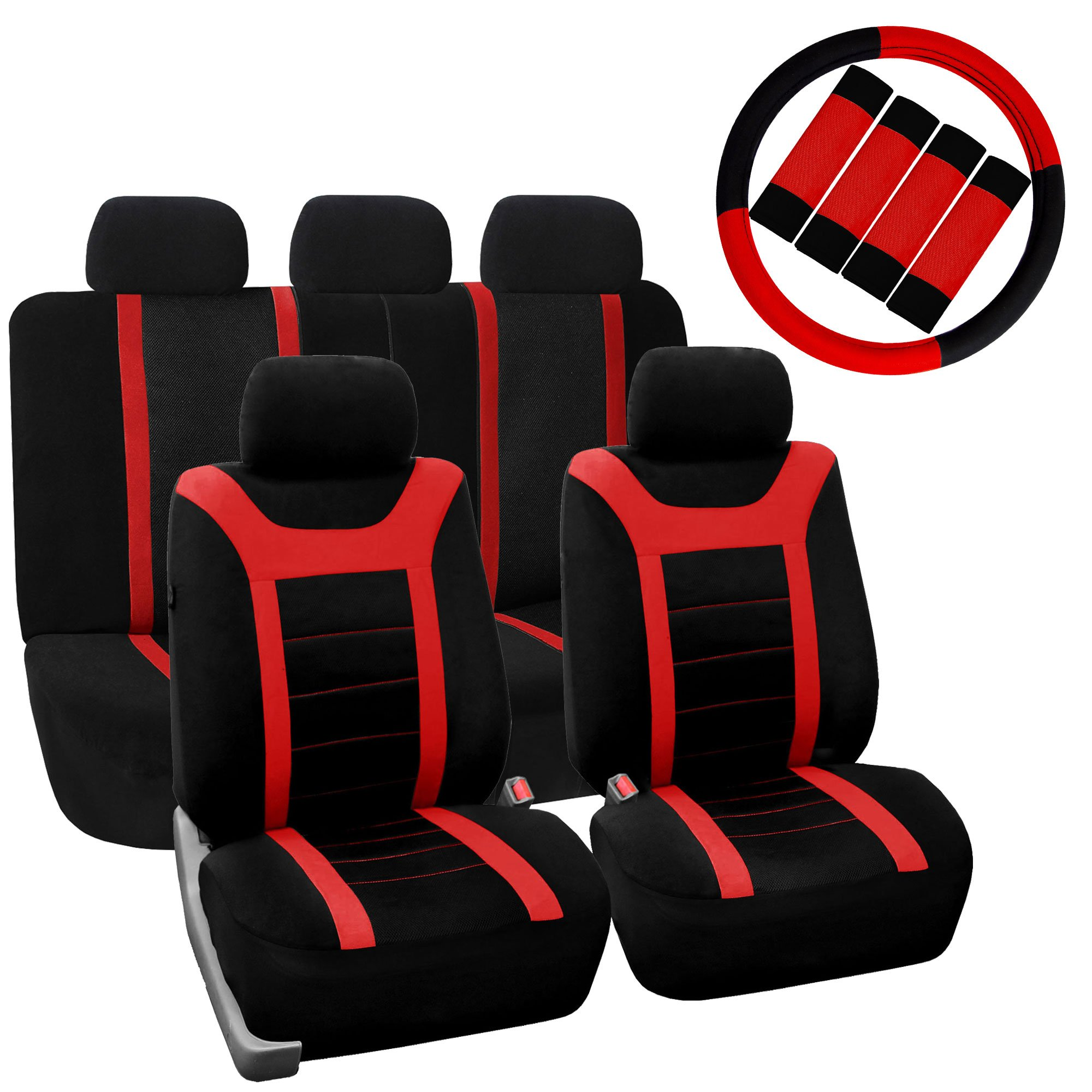 FH Group FB070115+FH2033 Sports Fabric Car Seat Covers, Airbag Compatible and Split Bench w. FH2003 Leather Steering Wheel Cover & Seat Belt Pads, Red/Black Color- Fit Most Car, Truck, SUV, or Van by FH Group