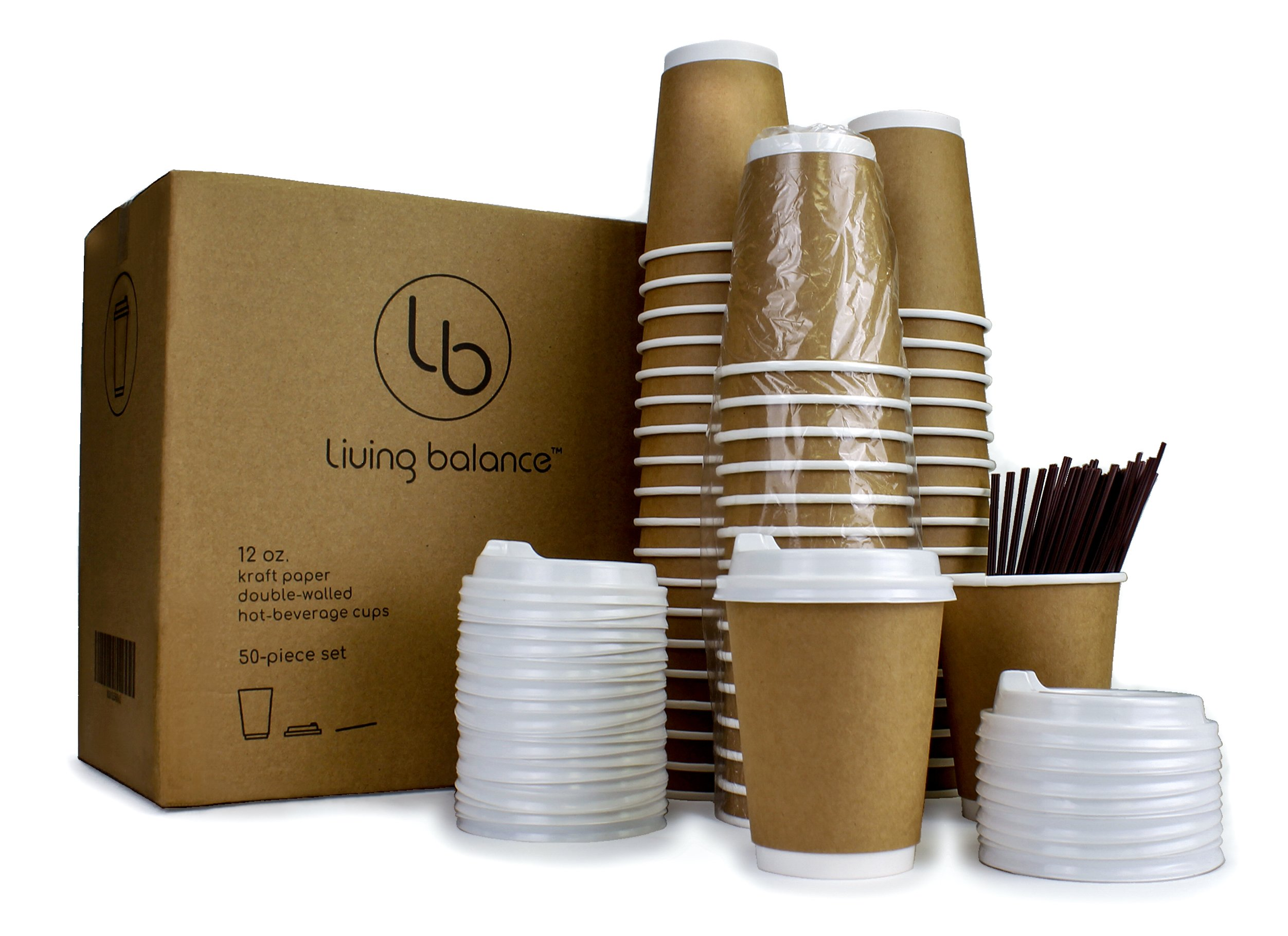 To Go Disposable Coffee Cups with Ergonomic Lids - 50 Piece Set, 12 oz, Kraft Paper, Double-Layer Insulation, Sleeve-Free.