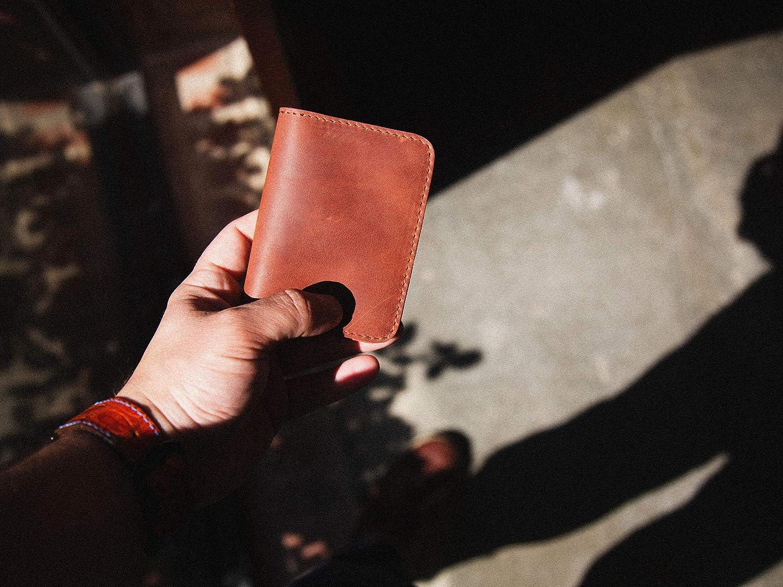 Slim Front Pocket Wallet for Men//Women made of Horween Dublin Leather of Natural