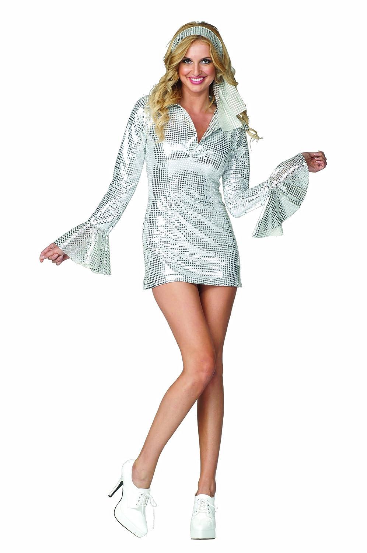 3e502f0f Amazon.com: RG Costumes Women's Diamond Disco Dress, Silver, Large/8-10:  Clothing