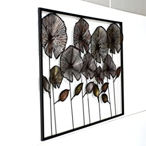 Craftter Colorful Flowers in Frame Metal Wall Décor Hanging Large Wall Sculpture Art