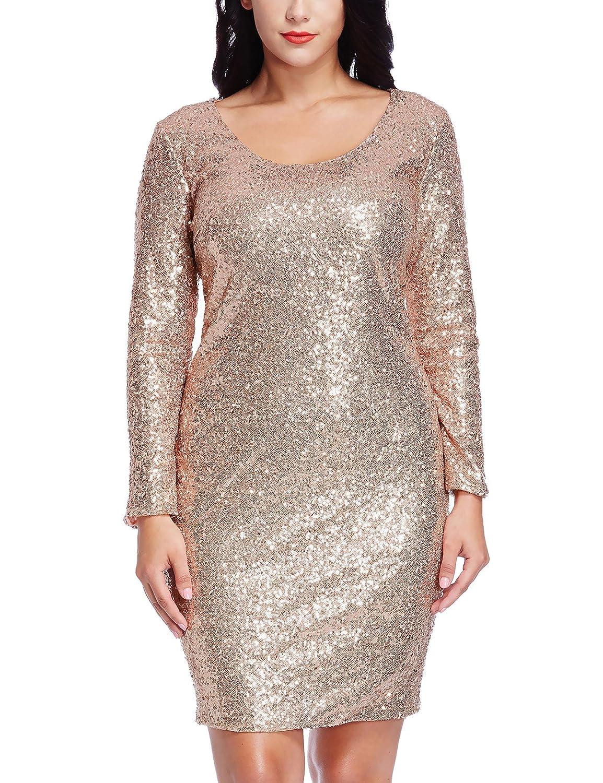 Amazon.com: Azbro Women&39s Black Plus Size Sequin Mesh Mini Dress ...