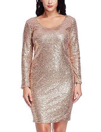 15d69208cb57 Grapent Women's Plus Size Sequin Cocktail Sheath Short Dress Bodycon Long  Sleeve Rose Gold 14W