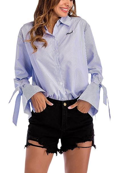 Yacun Camisa Blusa Mujer Manga De Campana Rayas Camisetas Tops Casual: Amazon.es: Ropa y accesorios