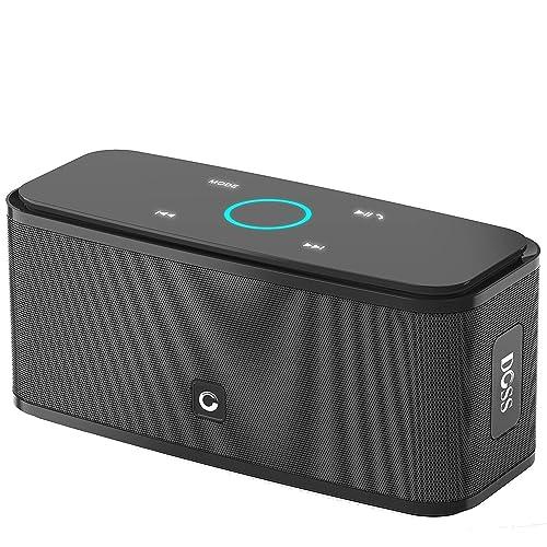 DOSS _Enceinte Bluetooth 12W, DOSS SoundBox Haut-Parleur Bluetooth sans Fil Portable,Commande Tactile et Définition Stéréo, 12 Heures d'Autonomie en Lecture,Mains Libres Téléphone, Carte TF Support.- Noir