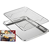 "KITCHENATICS Roasting & Baking Sheet with Cooling Rack: Quarter Cookie Pan Tray with Wire Rack - 9.6"" x 13"", Heavy Duty Quality, Oven Safe and Non Toxic"