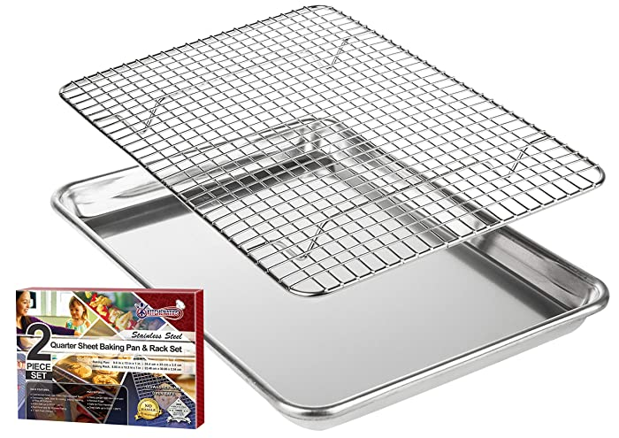 "KITCHENATICS Roasting & Baking Sheet with Cooling Rack: Quarter Aluminum Cookie Pan Tray with Stainless Steel Wire Rack - 9.6"" x 13"", Heavy Duty Quality, Oven Safe and Non Toxic"