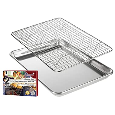 """KITCHENATICS Roasting & Baking Sheet with Cooling Rack: Small Quarter Sheet Size Aluminum Cookie Pan Tray with Stainless Steel Wire Rack - 9.6  x 13"""", Heavy Duty Quality, Oven Safe and Non Toxic"""