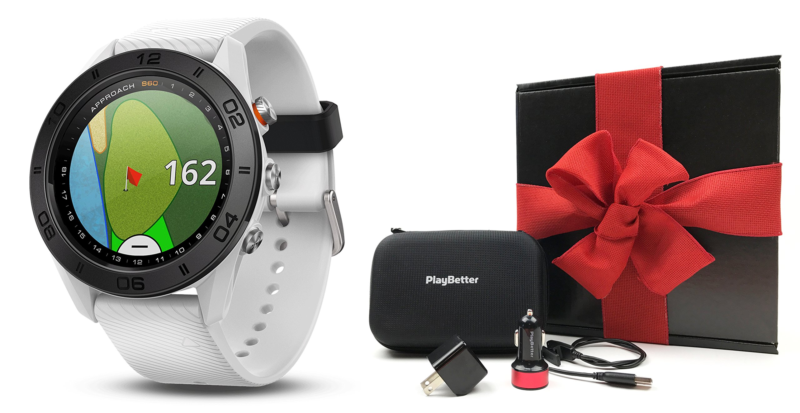 Garmin Approach S60 (White) Gift Box Bundle | Includes Multi-Sport Golf GPS Watch w/Activity Tracking, PlayBetter USB Car/Wall Charging Adapters & Protective Hard Case | Gift Box, Red Bow