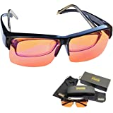 Blue Light Blocking Glasses - Fits over Reading glasses - SLEEP BETTER at Night - Orange Anti Glare lens to Reduce Insomnia,