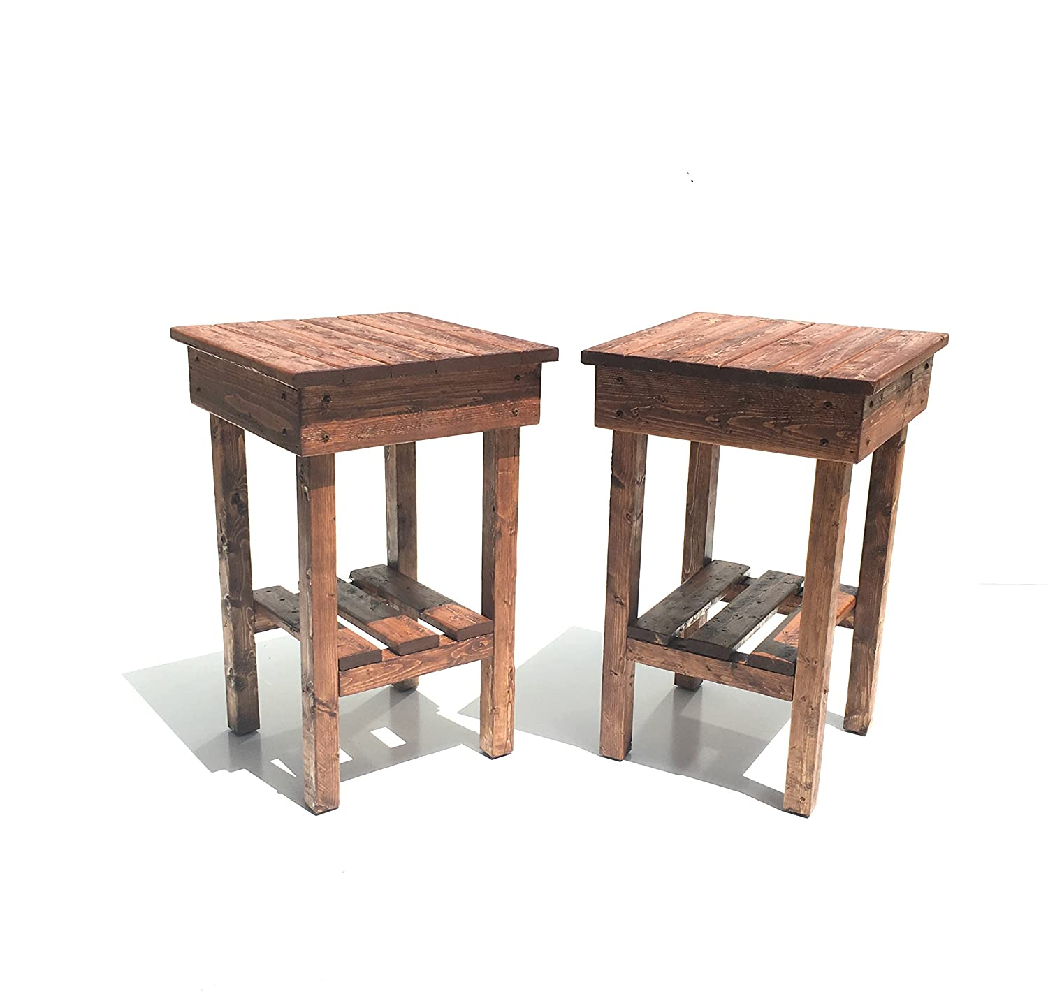 Night Stand Set/ End Table Set/Two Rustic End Table/2 Rustic Side Table/Bedside Table/Aged/Vintage End Table/Handmade/Custom New Materials/Farmhouse Table