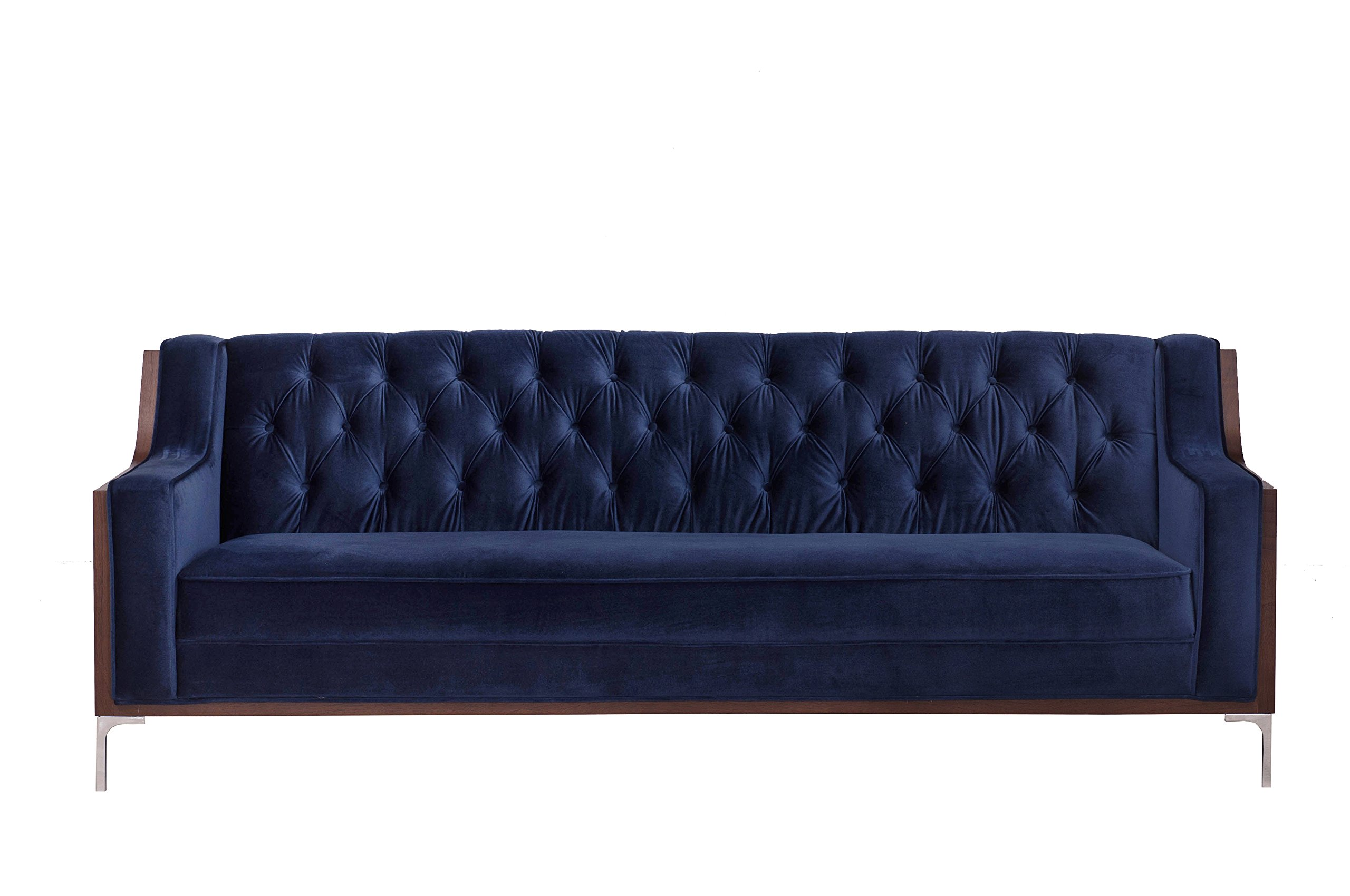 Iconic Home Clark Sofa Button Tufted Velvet Walnut Finish Swoop Arm Wood Frame with Polished Metal Legs, Modern Contemporary, Navy by Iconic Home (Image #3)